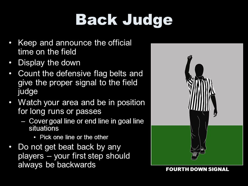 Back Judge Keep and announce the official time on the field Display the down Count the defensive flag belts and give the proper signal to the field ju