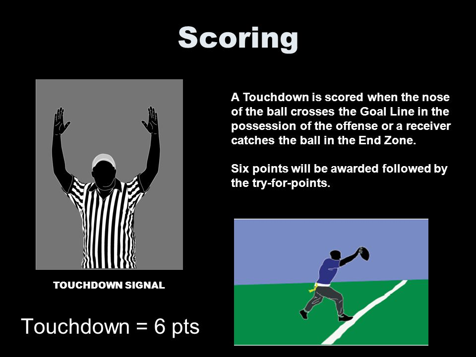 Scoring Touchdown = 6 pts A Touchdown is scored when the nose of the ball crosses the Goal Line in the possession of the offense or a receiver catches