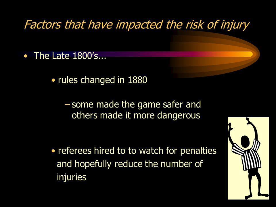 Factors that have impacted the risk of injury The Late 1800s...