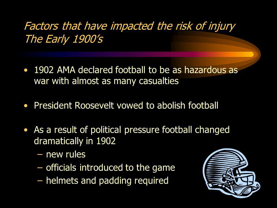 Factors that have impacted the risk of injury The Early 1900s 1902 AMA declared football to be as hazardous as war with almost as many casualties President Roosevelt vowed to abolish football As a result of political pressure football changed dramatically in 1902 –new rules –officials introduced to the game –helmets and padding required