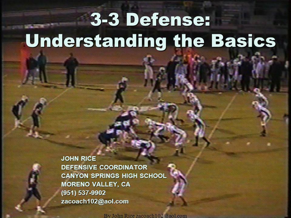 By John Rice zacoach102@aol.com 3-3 Defense: Understanding the Basics JOHN RICE DEFENSIVE COORDINATOR CANYON SPRINGS HIGH SCHOOL MORENO VALLEY, CA (951) 537-9902 zacoach102@aol.com