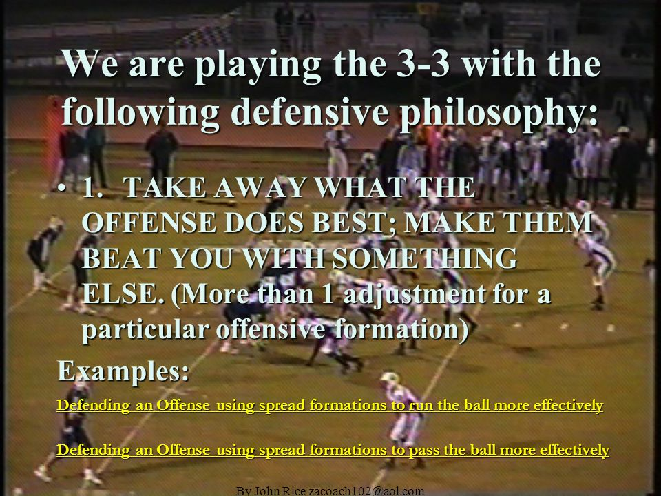 By John Rice zacoach102@aol.com DEFENSIVE END SLANT TECHNIQUE Alignment: 5 Technique Strongside Alignment: 5 Technique Strongside KEY: Ball to TE KEY: Ball to TE Responsibility: Attack and control the C Gap.
