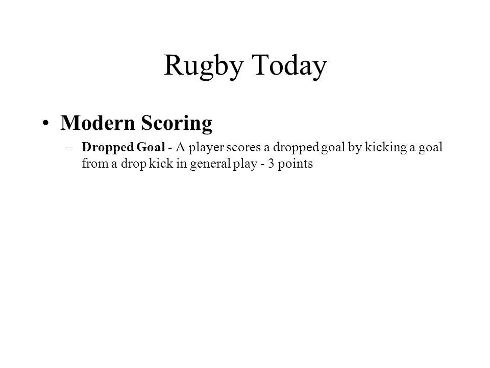 Rugby Today Modern Scoring –Dropped Goal - A player scores a dropped goal by kicking a goal from a drop kick in general play - 3 points