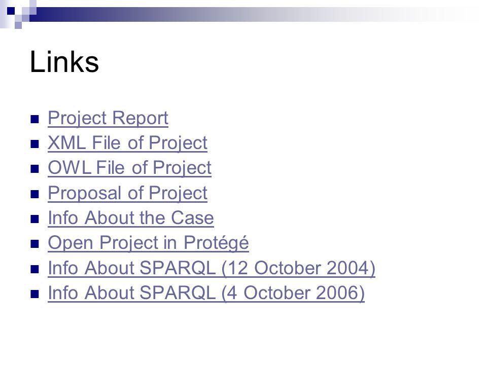 Links Project Report XML File of Project OWL File of Project Proposal of Project Info About the Case Open Project in Protégé Info About SPARQL (12 October 2004) Info About SPARQL (4 October 2006)