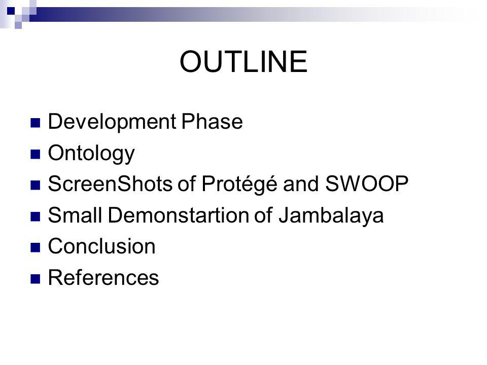 OUTLINE Development Phase Ontology ScreenShots of Protégé and SWOOP Small Demonstartion of Jambalaya Conclusion References