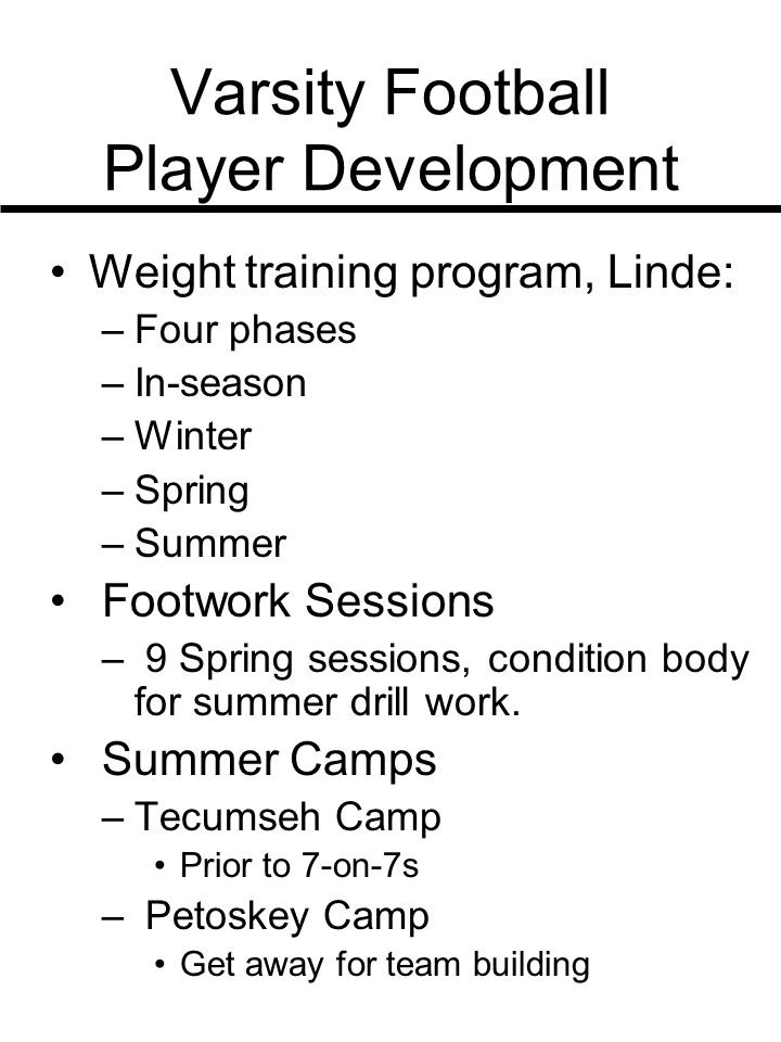Varsity Football Player Development Weight training program, Linde: –Four phases –In-season –Winter –Spring –Summer Footwork Sessions – 9 Spring sessi