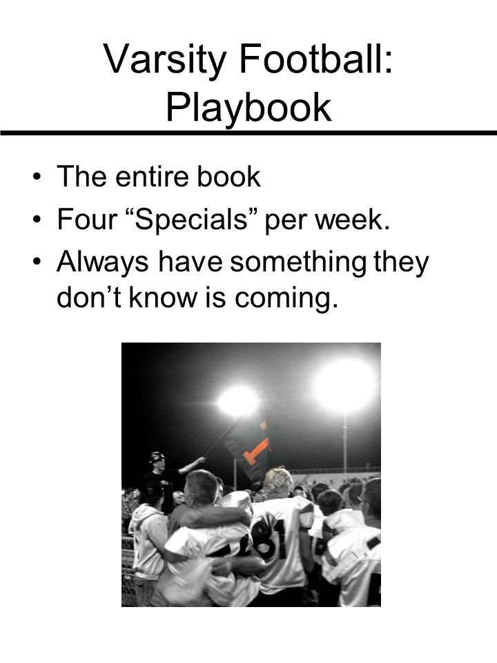 Varsity Football: Playbook The entire book Four Specials per week.