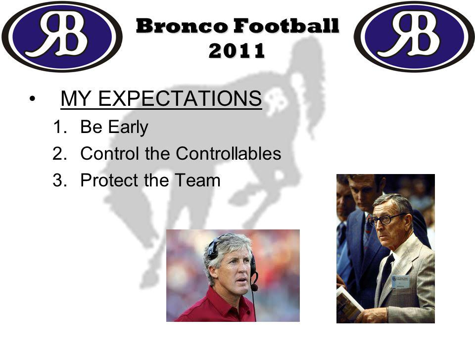 MY EXPECTATIONS 1.Be Early 2.Control the Controllables 3.Protect the Team Bronco Football 2011