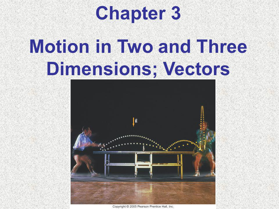 Chapter 3 Motion in Two and Three Dimensions; Vectors