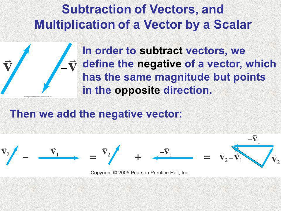 Subtraction of Vectors, and Multiplication of a Vector by a Scalar In order to subtract vectors, we define the negative of a vector, which has the sam