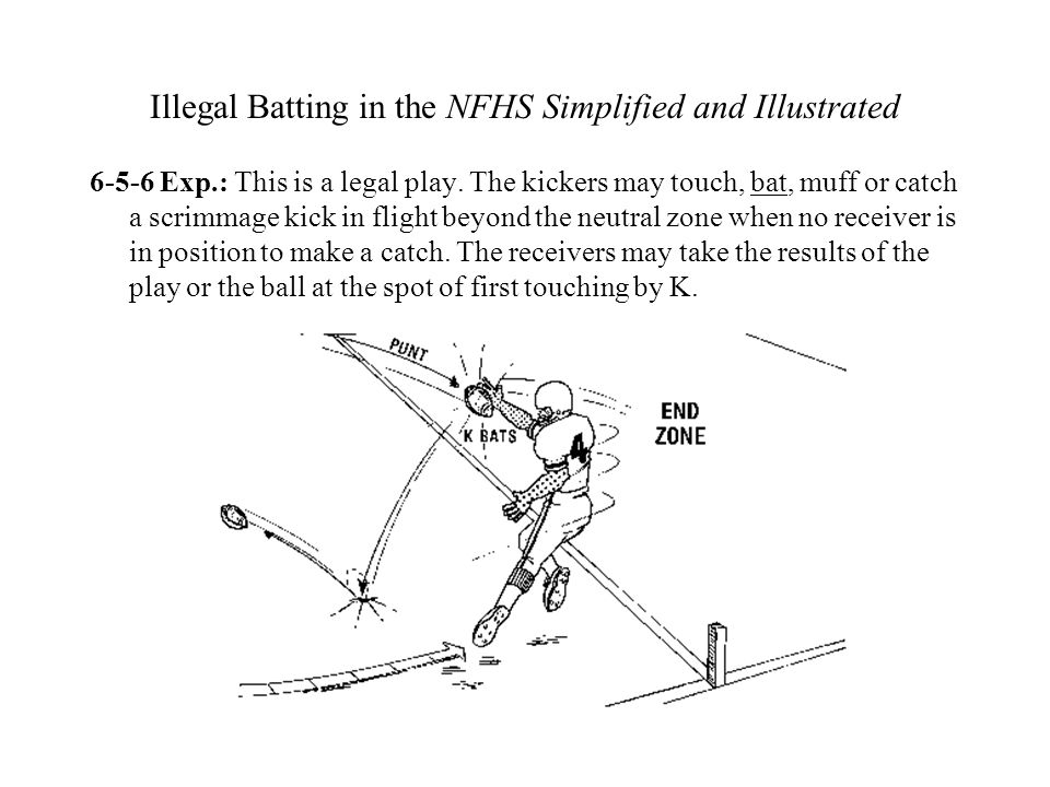Illegal Batting in the NFHS Simplified and Illustrated 6-5-6 Exp.: This is a legal play. The kickers may touch, bat, muff or catch a scrimmage kick in