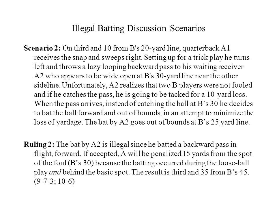 Illegal Batting Discussion Scenarios Scenario 2: On third and 10 from B's 20-yard line, quarterback A1 receives the snap and sweeps right. Setting up