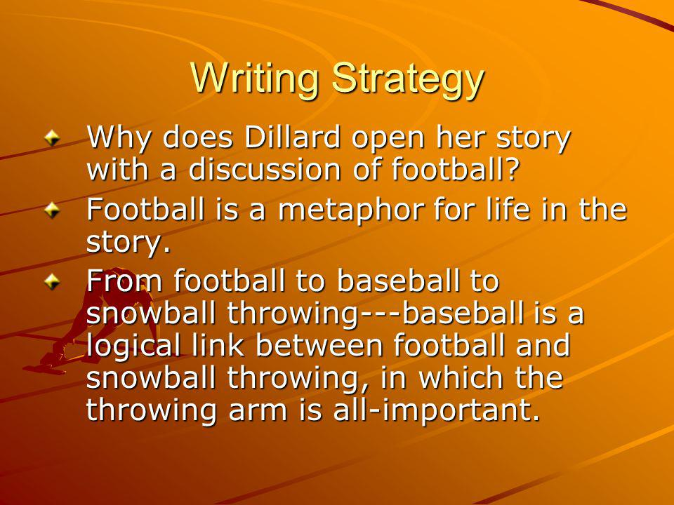 Writing Strategy Why does Dillard open her story with a discussion of football.
