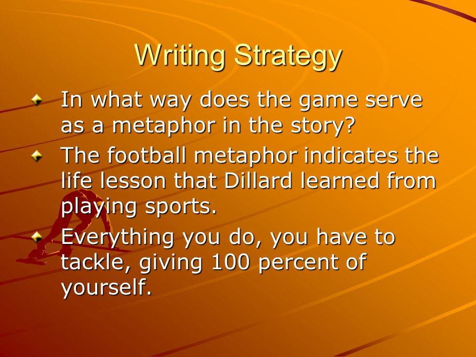 Writing Strategy In what way does the game serve as a metaphor in the story.