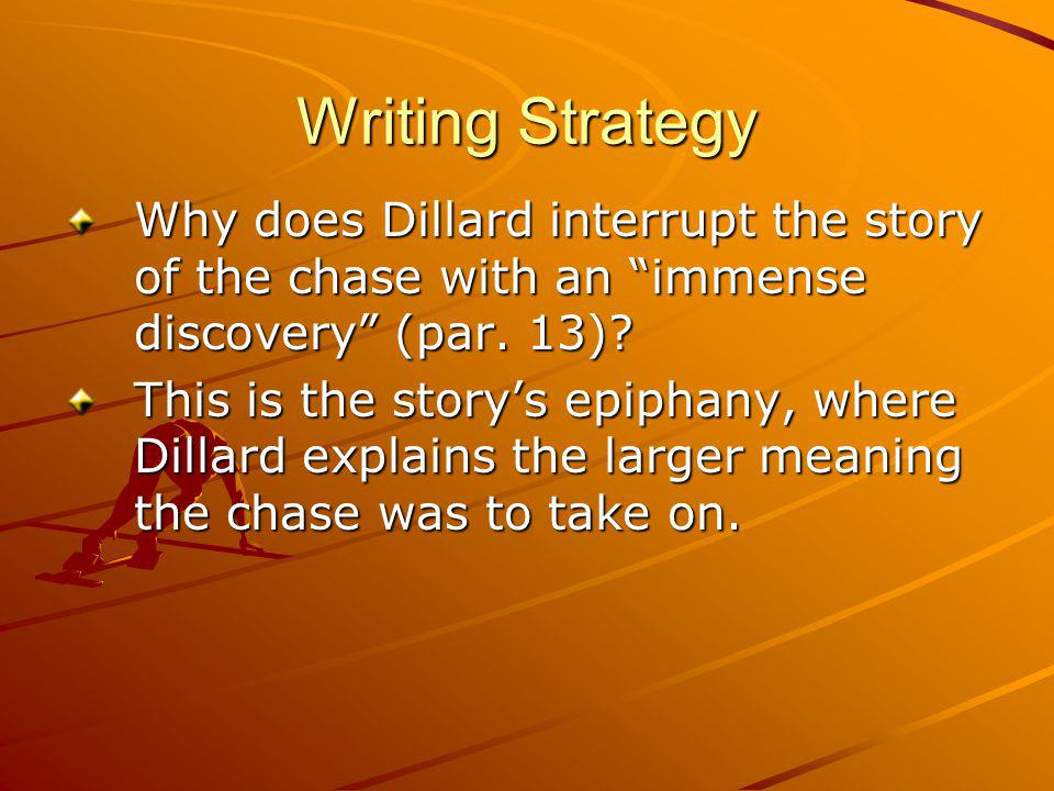 Writing Strategy Why does Dillard interrupt the story of the chase with an immense discovery (par.