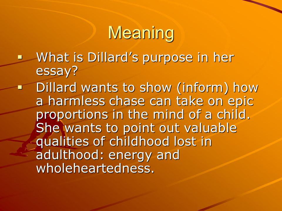 Meaning What is Dillards purpose in her essay.What is Dillards purpose in her essay.