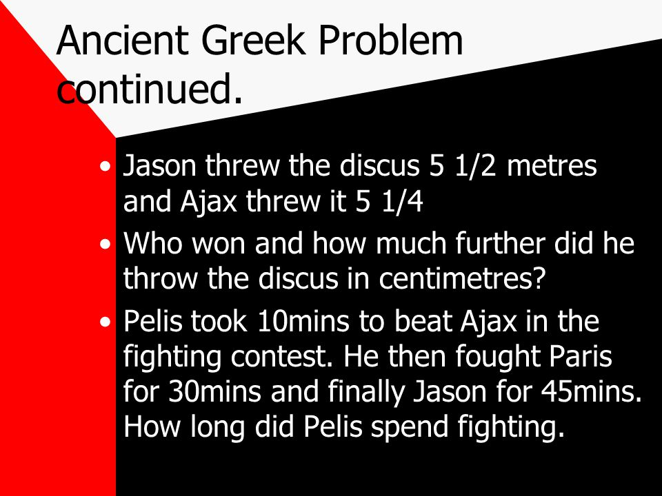 Ancient Greek Problem continued.