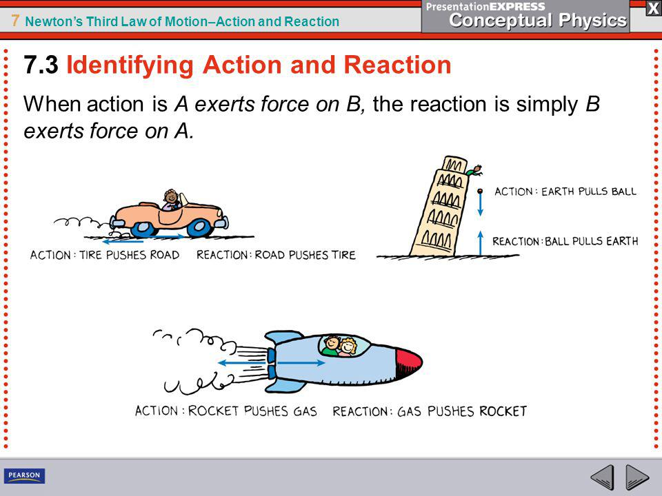 7 Newtons Third Law of Motion–Action and Reaction When action is A exerts force on B, the reaction is simply B exerts force on A.