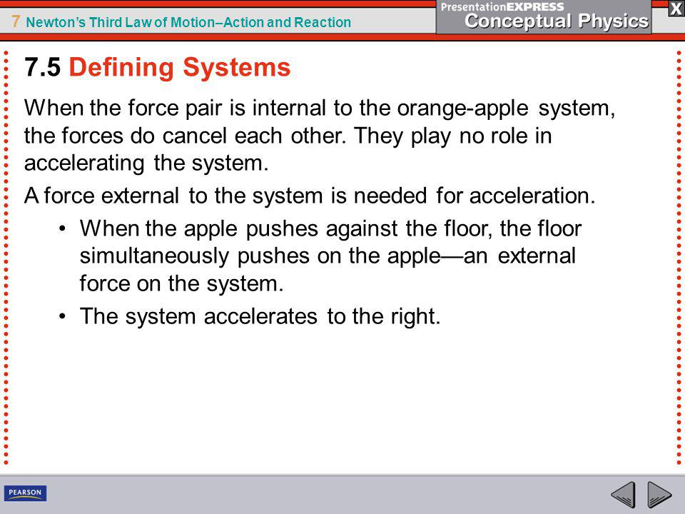7 Newtons Third Law of Motion–Action and Reaction When the force pair is internal to the orange-apple system, the forces do cancel each other.