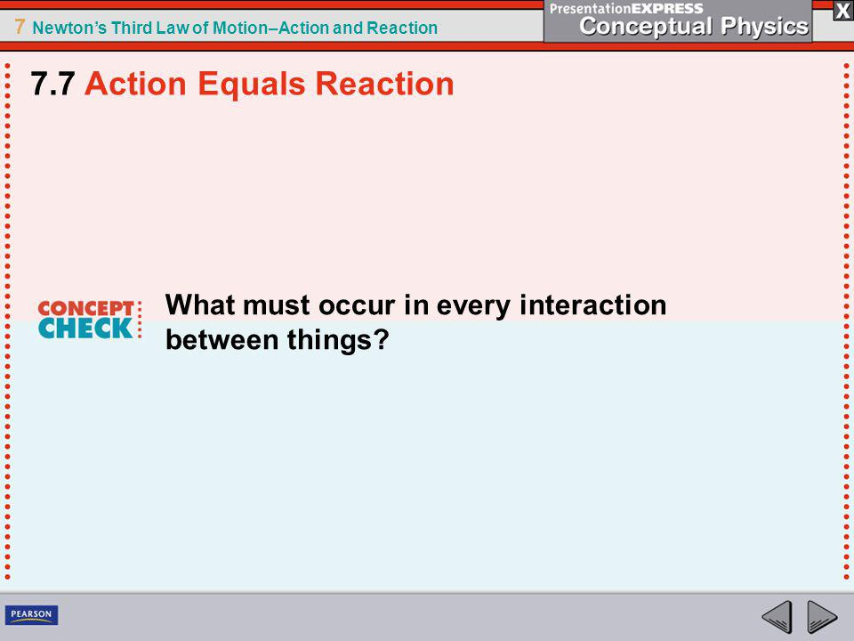 7 Newtons Third Law of Motion–Action and Reaction What must occur in every interaction between things.