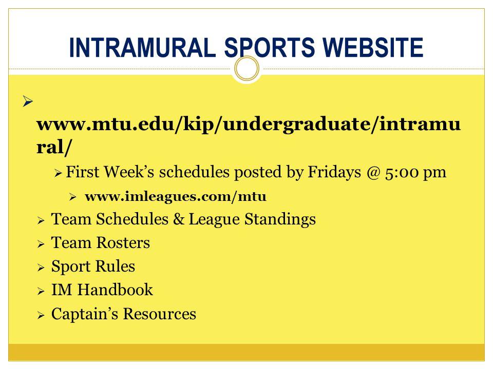 Intramural Sports HANDBOOK Highlights