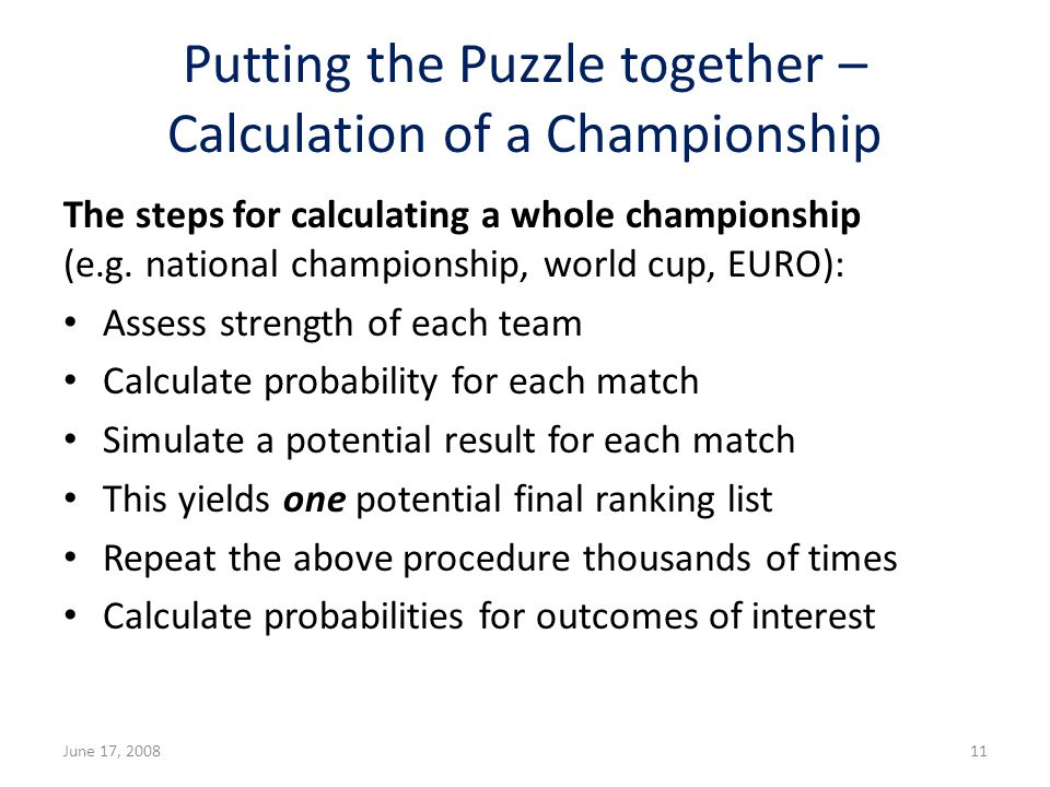 Putting the Puzzle together – Calculation of a Championship The steps for calculating a whole championship (e.g.
