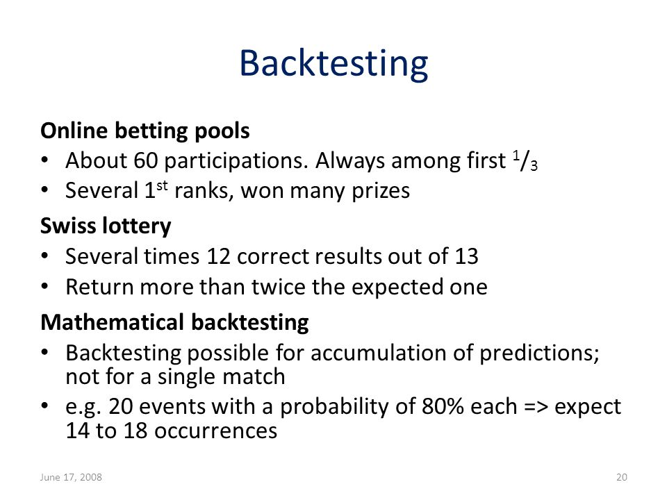 Backtesting Online betting pools About 60 participations.