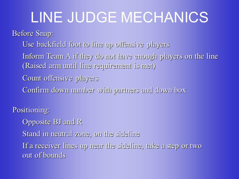 LINE JUDGE MECHANICS (cont.) After Snap: Mental Checklist: Snap, Players, Zone, Ball Observe initial charge of line players Slide downfield 3-5 yards initially, watch for illegal contact by receivers and defensive backs When pass is released, move to the most advantageous position to see between the receiver and defender Primary responsibilities are marking forward progress and ruling on plays near zone lines and goal lines Stay wide and parallel to runner as you have the primary call on downfield pitches