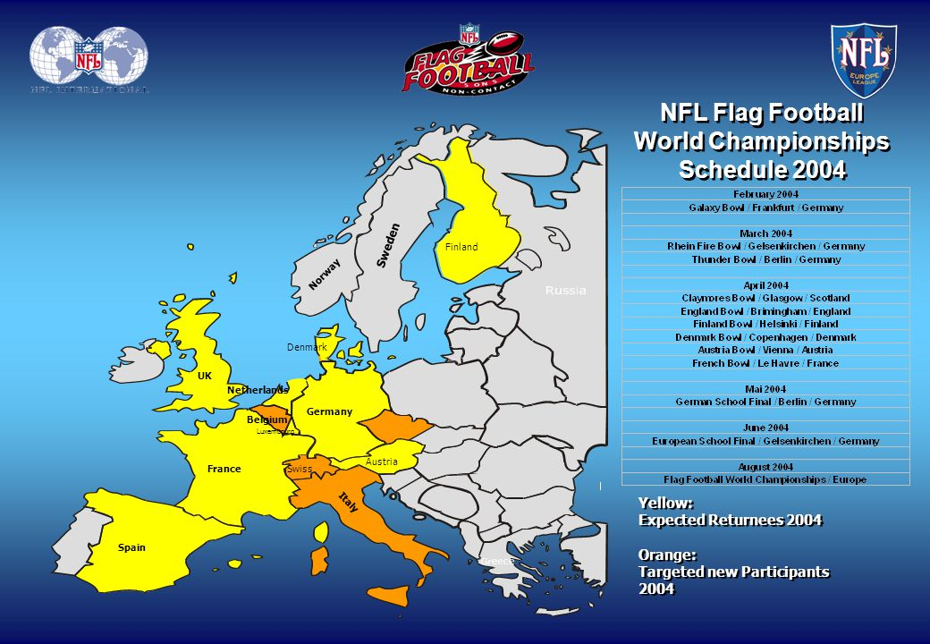 Denmark Netherlands Germany Belgium Luxembourg Sweden Norway Finland France Austria Swiss Spain UK Italy NFL Flag Football World Championships Schedul