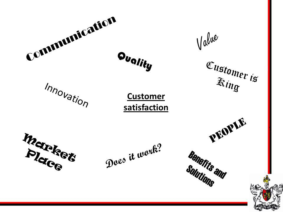 Customer satisfaction Communication Innovation Benefits and Solutions People Customer is King Quality Communication Innovation Market Place Does it wo