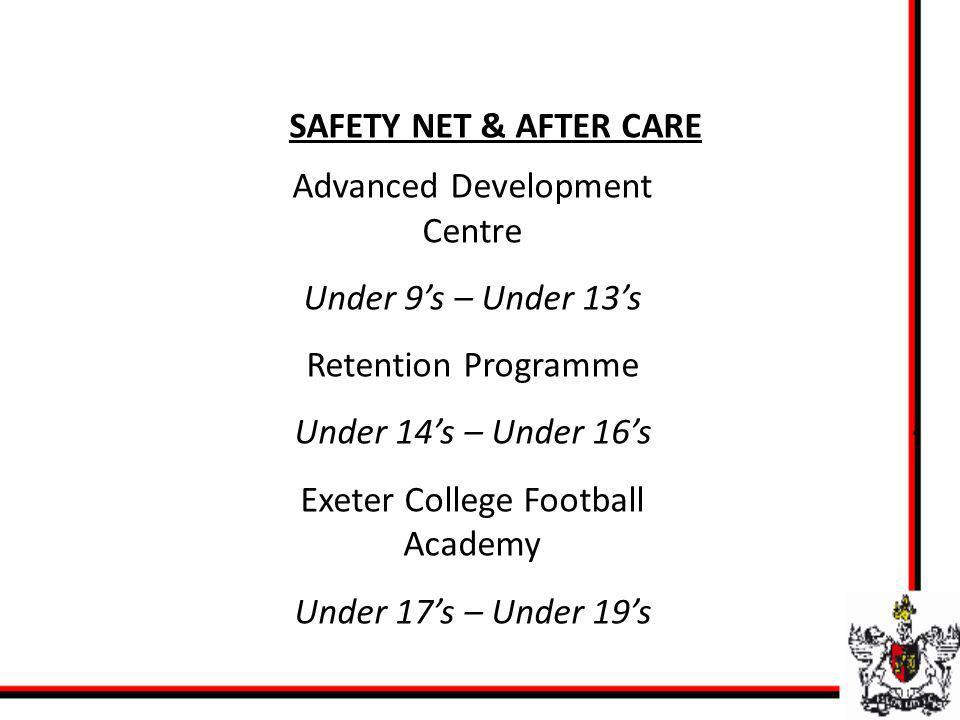 SAFETY NET & AFTER CARE Advanced Development Centre Under 9s – Under 13s Retention Programme Under 14s – Under 16s Exeter College Football Academy Under 17s – Under 19s