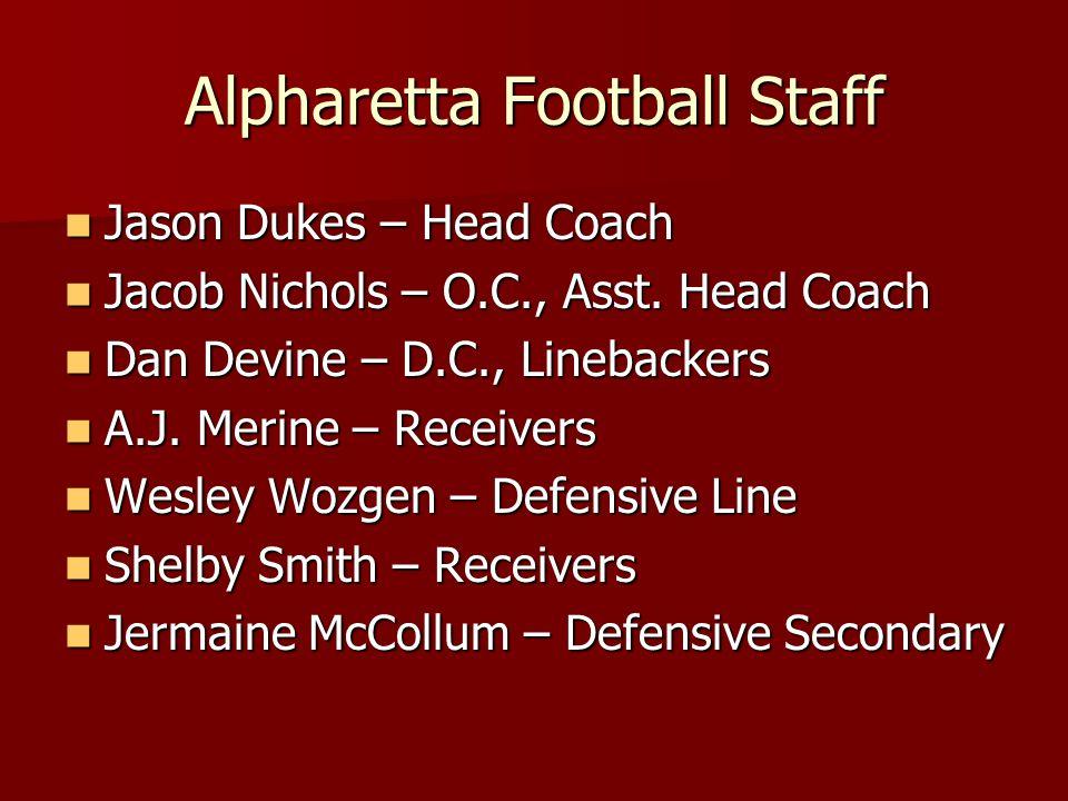 Alpharetta Football Staff Jason Dukes – Head Coach Jason Dukes – Head Coach Jacob Nichols – O.C., Asst. Head Coach Jacob Nichols – O.C., Asst. Head Co