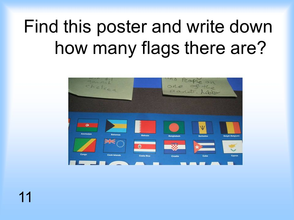 Find this poster and write down how many flags there are 11