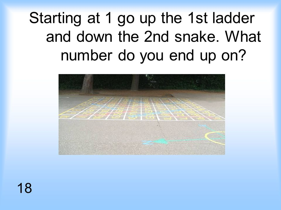 Starting at 1 go up the 1st ladder and down the 2nd snake. What number do you end up on 18