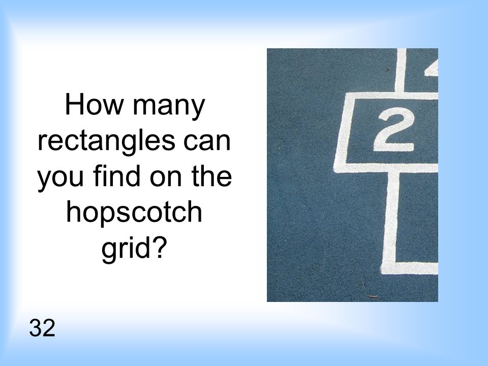 How many rectangles can you find on the hopscotch grid 32