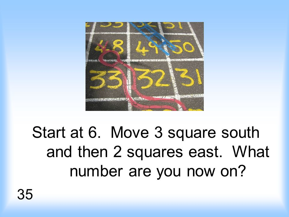 Start at 6. Move 3 square south and then 2 squares east. What number are you now on 35