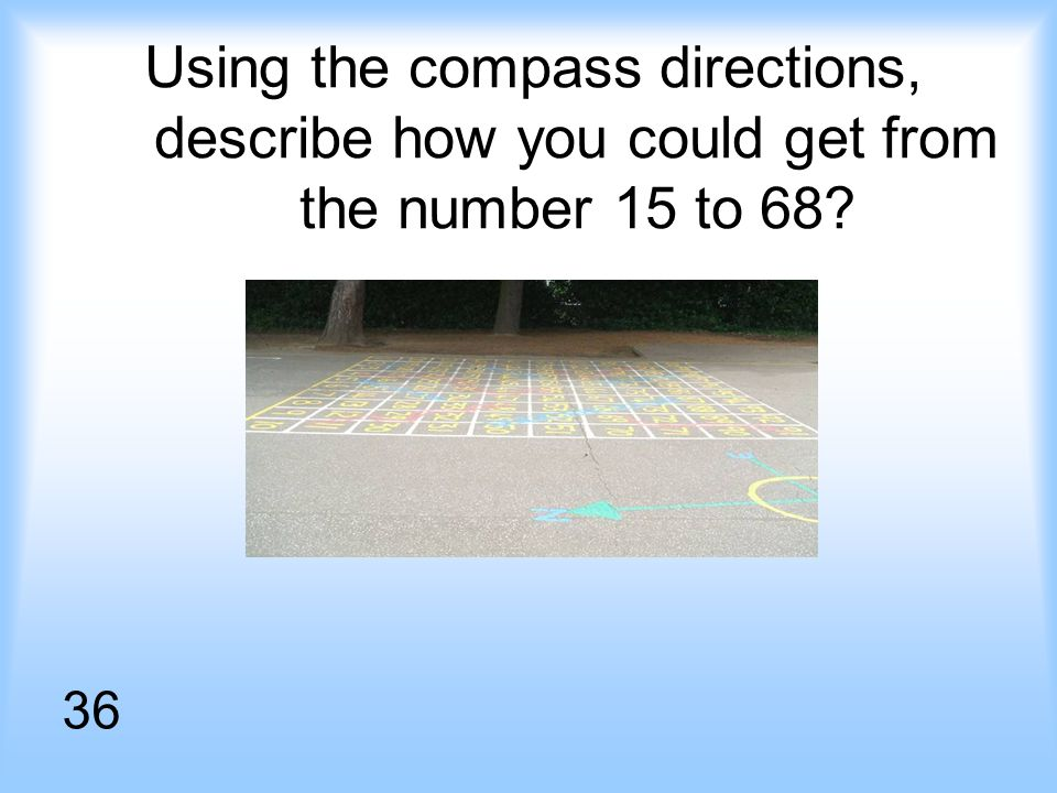Using the compass directions, describe how you could get from the number 15 to 68 36