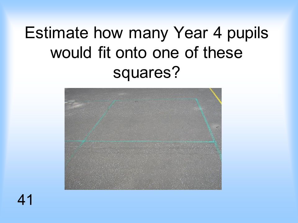 Estimate how many Year 4 pupils would fit onto one of these squares 41