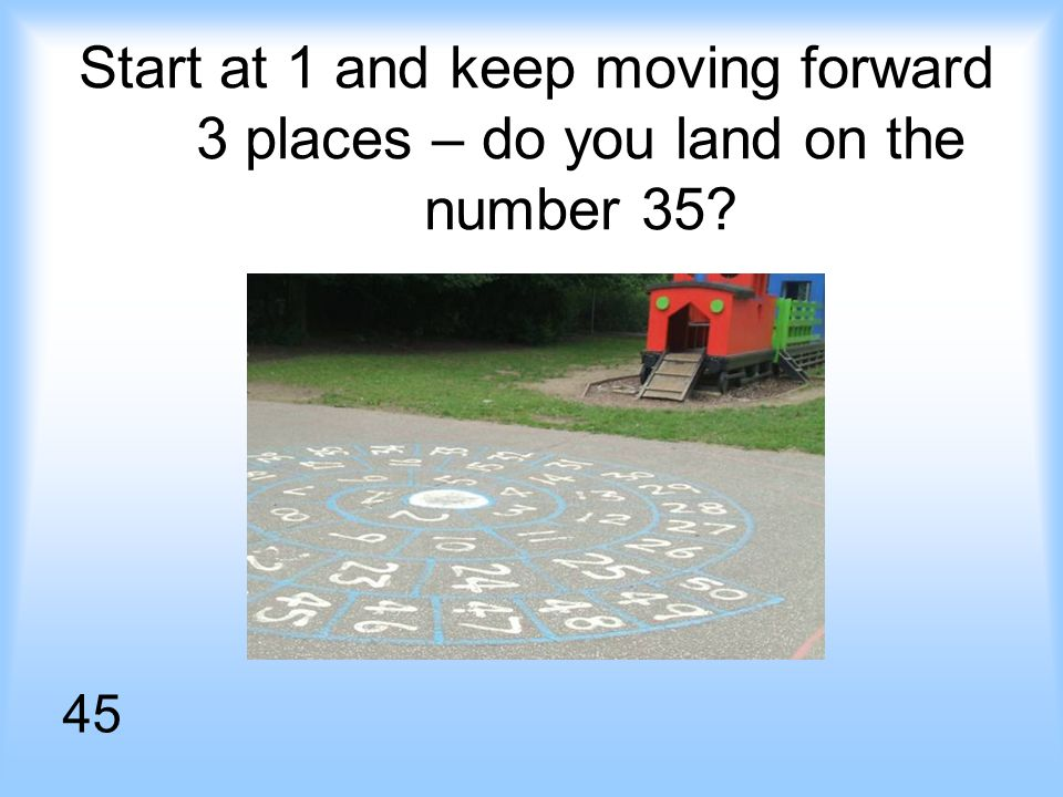 Start at 1 and keep moving forward 3 places – do you land on the number 35 45