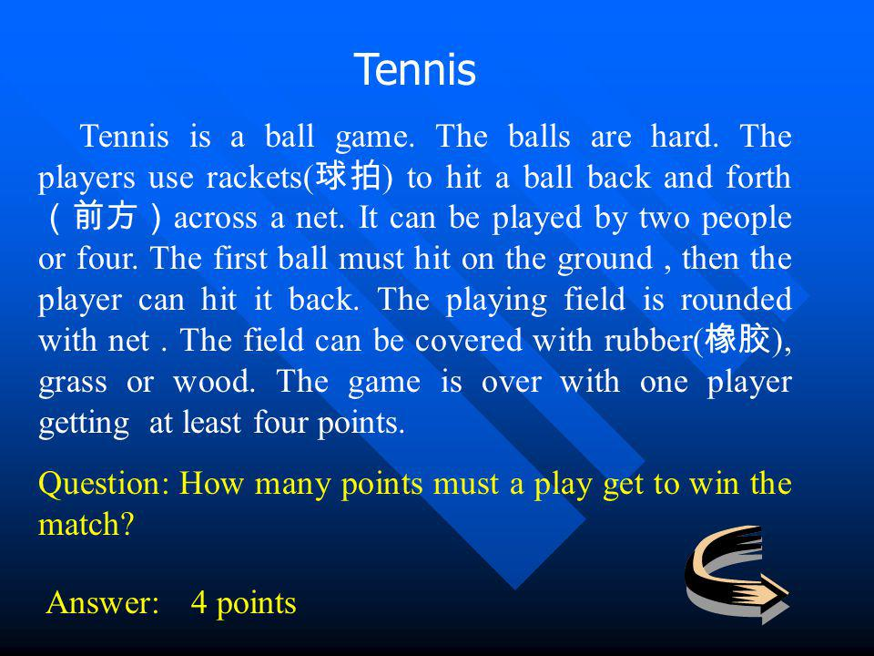 Tennis Tennis is a ball game. The balls are hard. The players use rackets( ) to hit a ball back and forth across a net. It can be played by two people