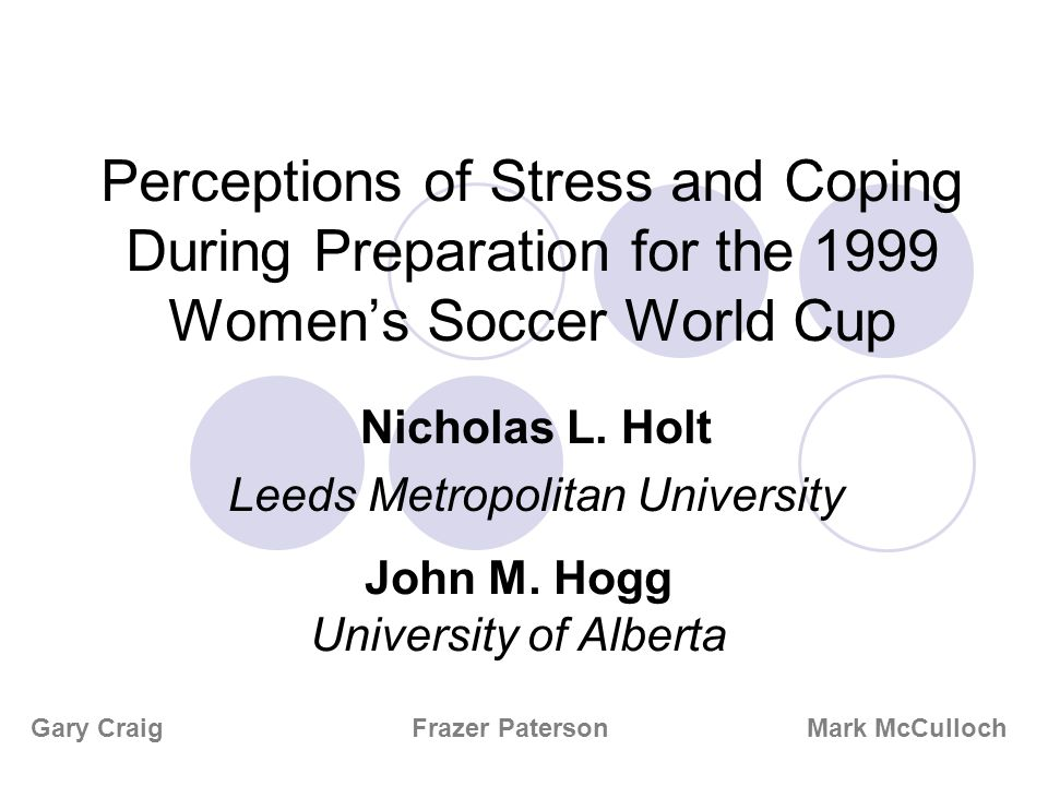 Perceptions of Stress and Coping During Preparation for the 1999 Womens Soccer World Cup Nicholas L.
