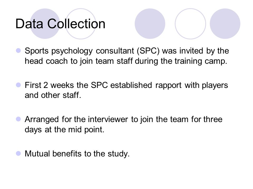 Data Collection Sports psychology consultant (SPC) was invited by the head coach to join team staff during the training camp.
