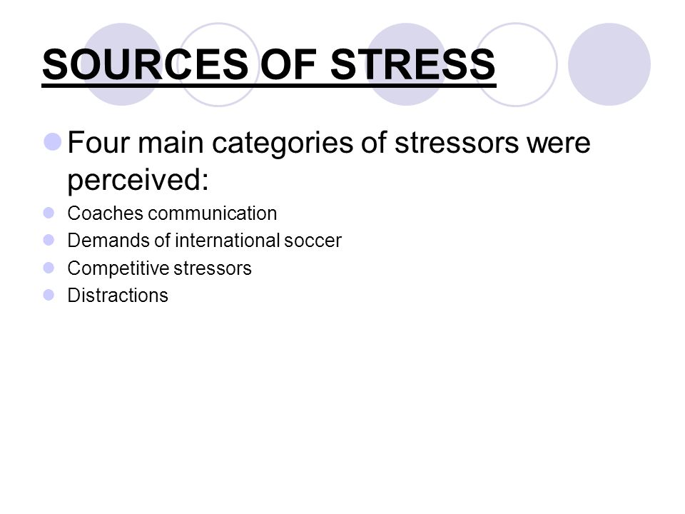 SOURCES OF STRESS Four main categories of stressors were perceived: Coaches communication Demands of international soccer Competitive stressors Distractions