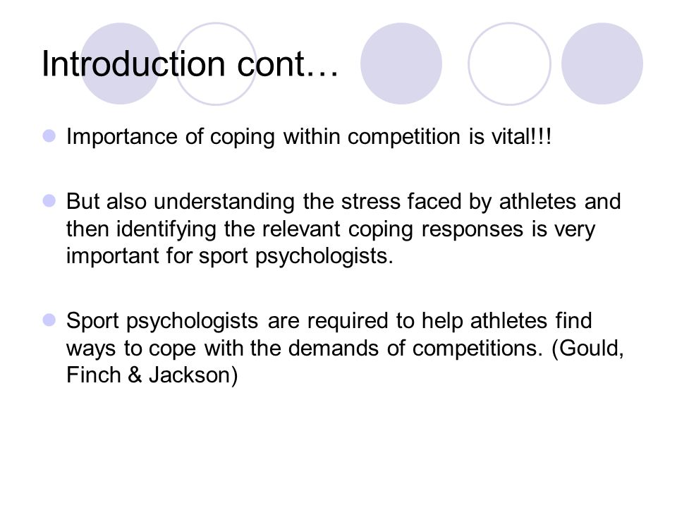 Introduction cont… Importance of coping within competition is vital!!.