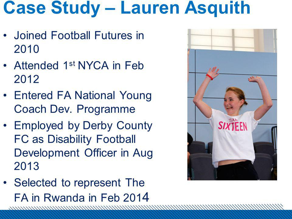 Case Study – Lauren Asquith Joined Football Futures in 2010 Attended 1 st NYCA in Feb 2012 Entered FA National Young Coach Dev.
