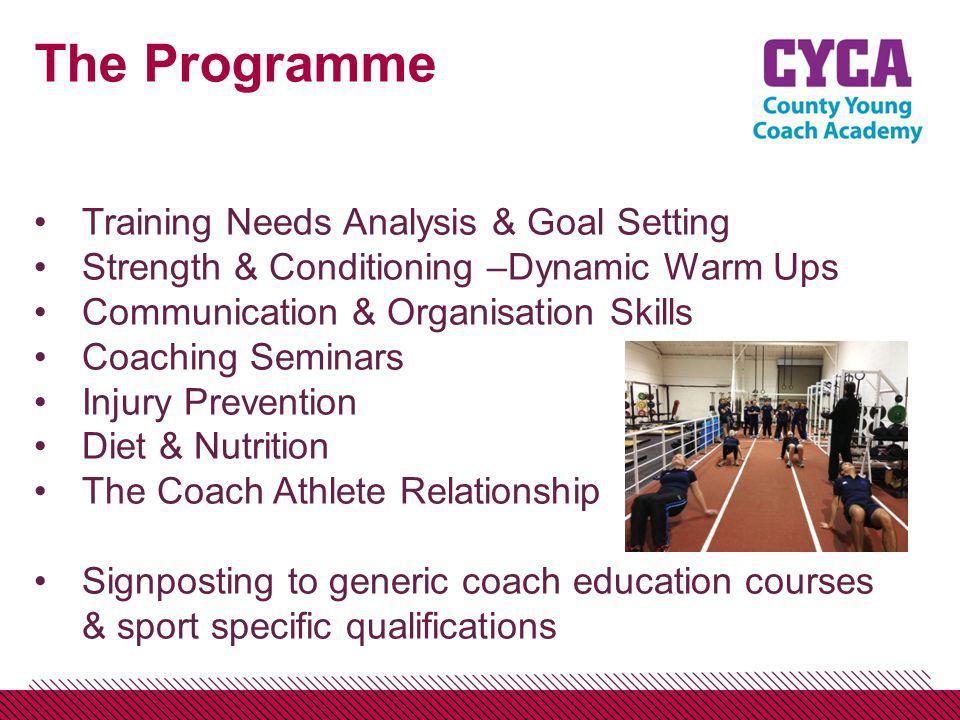 The Programme Training Needs Analysis & Goal Setting Strength & Conditioning –Dynamic Warm Ups Communication & Organisation Skills Coaching Seminars Injury Prevention Diet & Nutrition The Coach Athlete Relationship Signposting to generic coach education courses & sport specific qualifications