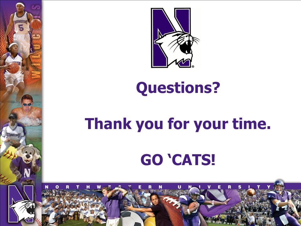 Questions? Thank you for your time. GO CATS!
