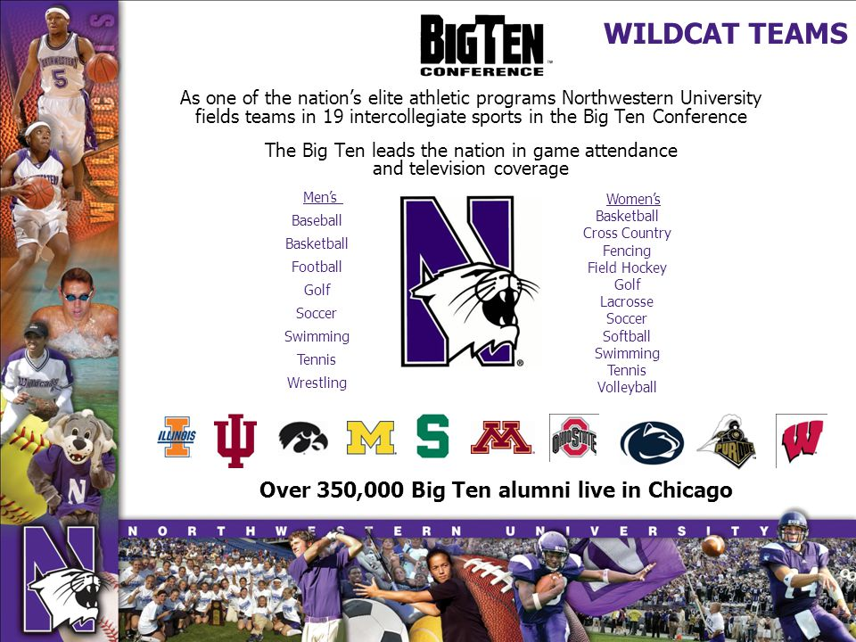 As one of the nations elite athletic programs Northwestern University fields teams in 19 intercollegiate sports in the Big Ten Conference The Big Ten