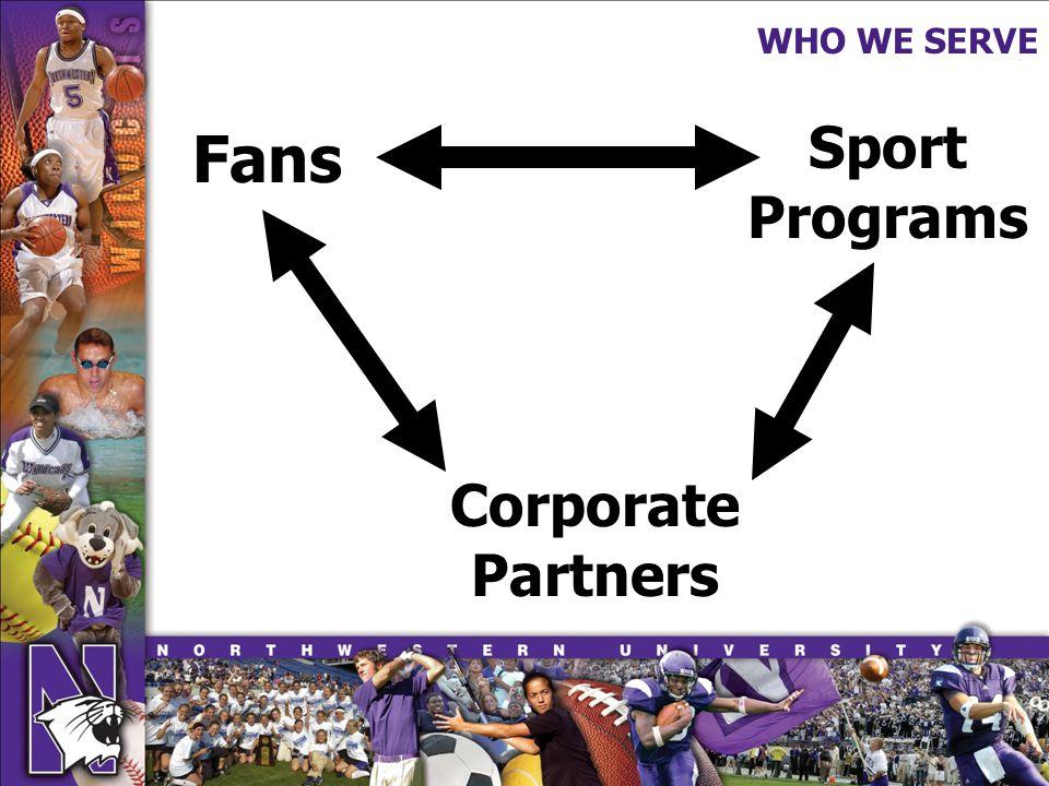 WHO WE SERVE Fans Sport Programs Corporate Partners