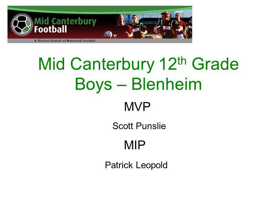Mid Canterbury 12 th Grade Boys – Blenheim MVP Scott Punslie MIP Patrick Leopold